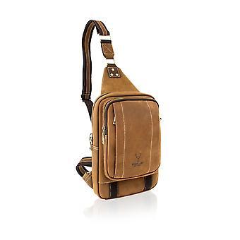 Sandy Brown Nu Buck Cross Body Bag 10.0