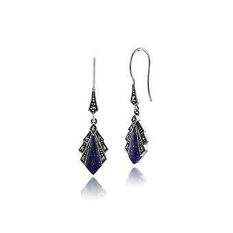 Gemondo 925 Sterling Silver 1ct Lapis Lazuli & Marcasite Art Deco Drop Earrings