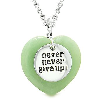 Amulet Never Give Up Inspirational Puffy Magic Lucky Heart Charm Green Quartz Pendant 18 inch Necklace
