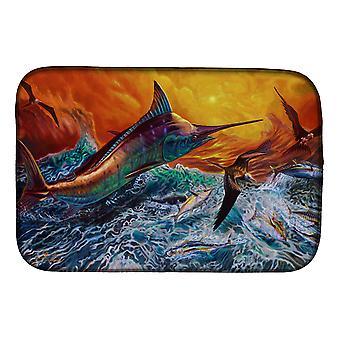 Carolines Treasures  JMA2012DDM Reflective Chaos Blue Marlin Dish Drying Mat