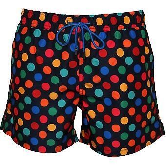 Happy Socks Big Dot Swim Shorts, Navy/Multi