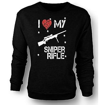 Womens Sweatshirt jeg elsker min Sniper Rifle - morsomt