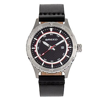 Breed Mechanic Leather-Band Watch w/Date - Black