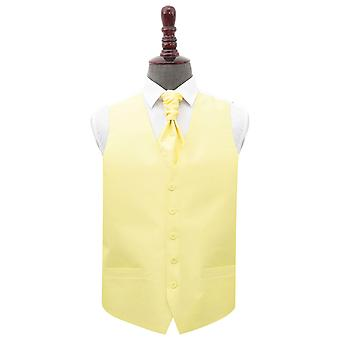 Lemon Yellow Shantung Wedding Waistcoat & Cravat Set