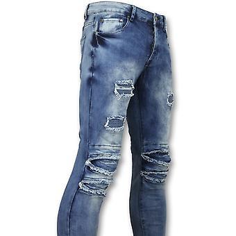 Calças com rachaduras homens-motociclista jeans homens Skinny-3002-16-azul