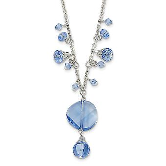 Silver-tone Fancy Lobster Closure Light Blue Crystal Drop 16 Inch With ext Necklace