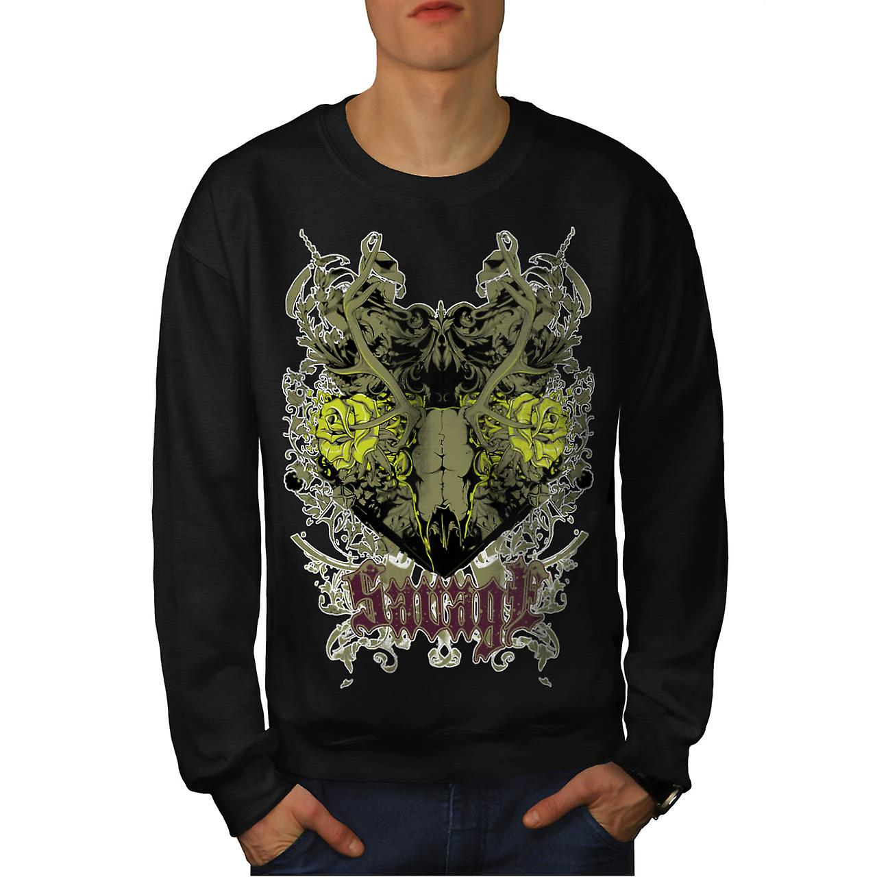 Savage Animal Rose Skull Men Black Sweatshirt | Wellcoda