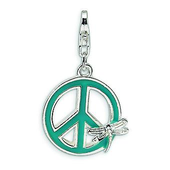 Sterling Silver Polished Rhodium-plated Fancy Lobster Closure Enamel Peace Sign with Dragonfly With Lobster Clasp Charm