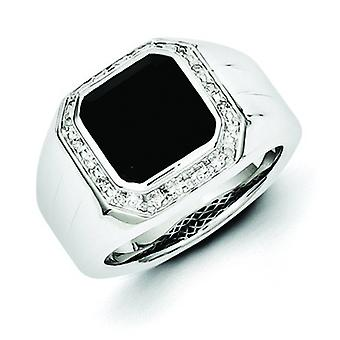 Sterling Silver Bezel Polished Prong set Gift Boxed Rhodium-plated Diamond and Black Simulated Onyx Square Mens Ring - R