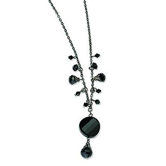 Black-verguld Black Crystal Drop 16 Inch met ext ketting