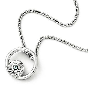 Sterling Silver White Ice Blue Topaz and .05 Ct Diamond Necklace - .05 dwt .09 cwt - 18 Inch