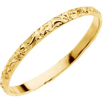 14k Yellow Gold for boys or girls Etched Ring 1.5mm - .6 Grams - size 3