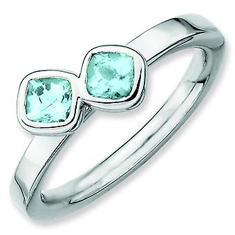 Sterling Silver Bezel Polished Rhodium-plated Stackable Expressions Db Cushion Cut Aquamarine Ring - Ring Size: 5 to 10