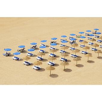 Beach Chairs And Umbrellas Set Up In Row On The Beach Albufeira Algarve Portugal PosterPrint