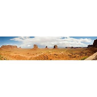 Buttes in a desert The Mittens Monument Valley Tribal Park Monument Valley Utah USA Poster Print