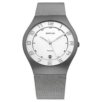 Bering mens watch wristwatch slim classic - 11937-000 Meshband