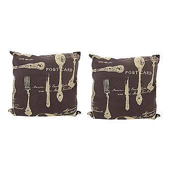 Pair of Brown Canvas French Cuisine Postcard Theme Throw Pillows 16 Inch