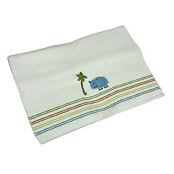 Blue Safari Hippo Colorful Striped 100% Cotton White Bath Towel 25 X 50 Inch
