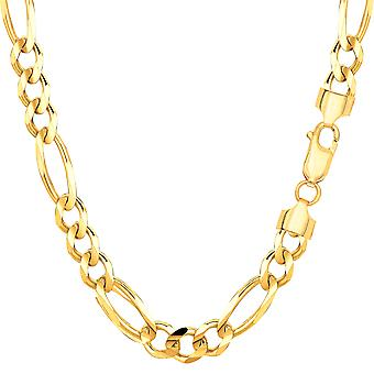 14k Yellow Gold Classic Figaro Chain Necklace, 6.0mm