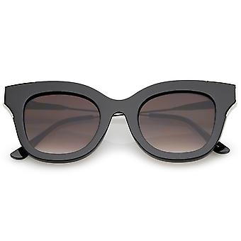 Oversize Thick Slim Temple Metal Trim Square Flat Lens Cat Eye Sunglasses 48mm