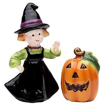 Happy Halloween græskar og heks Salt og peber Shaker sæt
