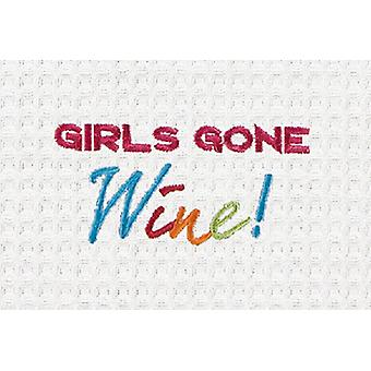 Girls Gone Wine Embroidered Waffle Weave 27 Inch Kitchen Dish Towel
