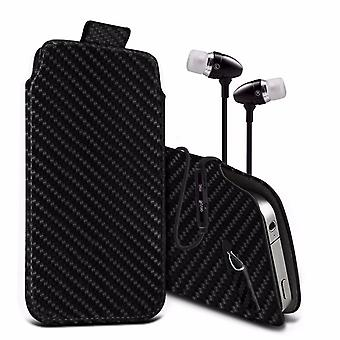 i-Tronixs Premium Stylish Faux Leather Pull Tab Pouch Skin Case Cover with Aluminium Stereo Hands Free Earphone For UMi Fair (5