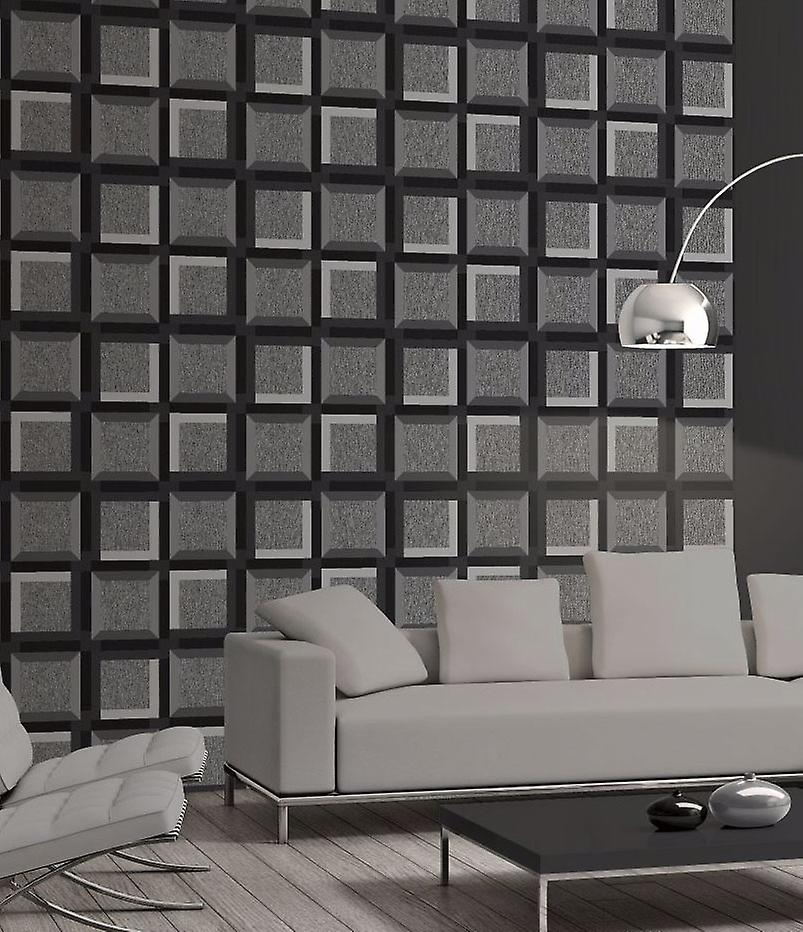 3D Squares Wallpaper Geometric Shapes Modern Grey Black Charcoal Muriva