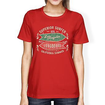 Superieure Surfer LA Longboard Womens rode Vintage Design Tee Shirt