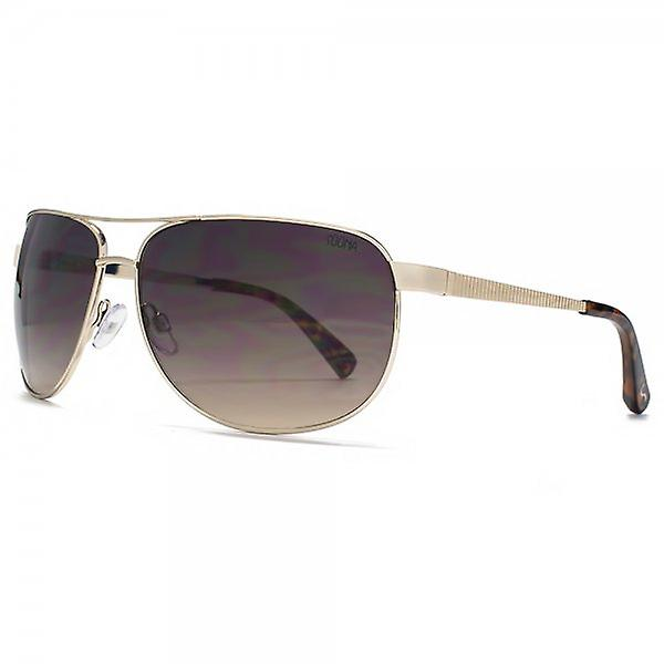 SUUNA Turin Groove Temple Aviator Sunglasses In Brushed Pale Gold