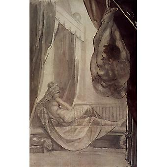 Henry Fuseli - In the Bed Poster Print Giclee