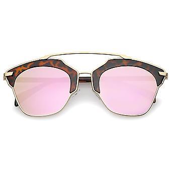 High Fashion Two-Toned Pantos Crossbar Colored Mirror Lens Aviator Sunglasses 52mm
