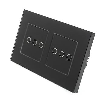 I LumoS Black Glass Double Frame 6 Gang 1 Way Remote Touch LED Light Switch Black Insert