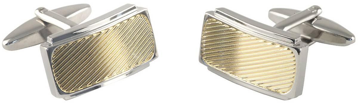 David Van Hagen Striped Centre Curved Rectangle Cufflinks - Silver/Gold