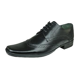 Lambretta Blaine Mens Leather Smart Formal Lace Up Shoes / Brogues - Black