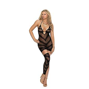 Elegant Moments  EM-1367 Opaque and fishnet halter neck mini dress