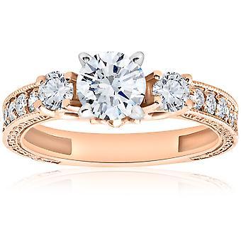 1ct Vintage diamante 3 pietra Engagememt Ring 14k Rose Gold