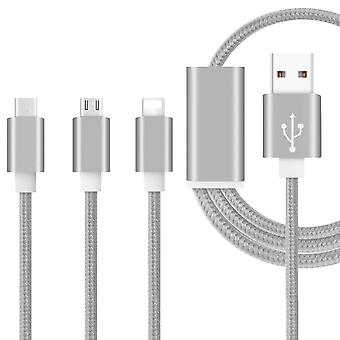 ONX3 (Grey) Premium Quality 1 Meter Length 3 in 1 Multiple USB Charging Cable High Speed Nylon Braided with Type C / 8 Pin Lighting / Micro USB Connector For Nextbook Premium8SE V1.0