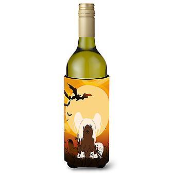 Halloween Chinese Crested Cream Wine Bottle Beverge Insulator Hugger