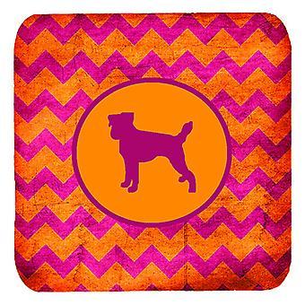 Zestaw 4, Jack Russell Terrier Chevron różowy i pomarańczowy pianki podstawki