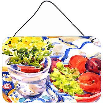 التفاح والخوخ والعنب مع الزهور جدار داخلي أو باب شنقاً يطبع