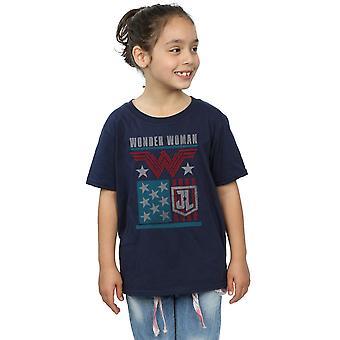 DC Comics Girls Justice League Movie Wonder Woman Flag T-Shirt