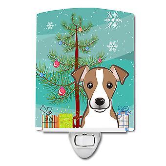 ضوء الليل السيراميك شجرة عيد الميلاد وجاك راسل الكلب
