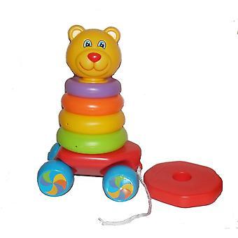 Amusant en tirant le long de Teddy Stacker empilement cycles 2 en 1 à bascule jouet