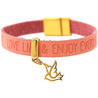 Gemshine - gold-plated ladies bracelet - peace - dove - wing - 925 Silver - gold plated - WISHES - Pink Pink - magnetic closure