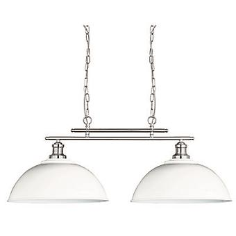 Searchlight 0932-2WH Fusion 2 Light Twin Ceiling Pendant Light In Satin Silver With Two White Shades