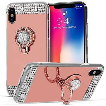 iPhone X Mirrored Diamond Ring Kickstand Case - Rose Gold