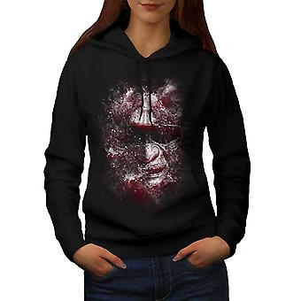 Katana Face Art Fantasy Women BlackHoodie | Wellcoda