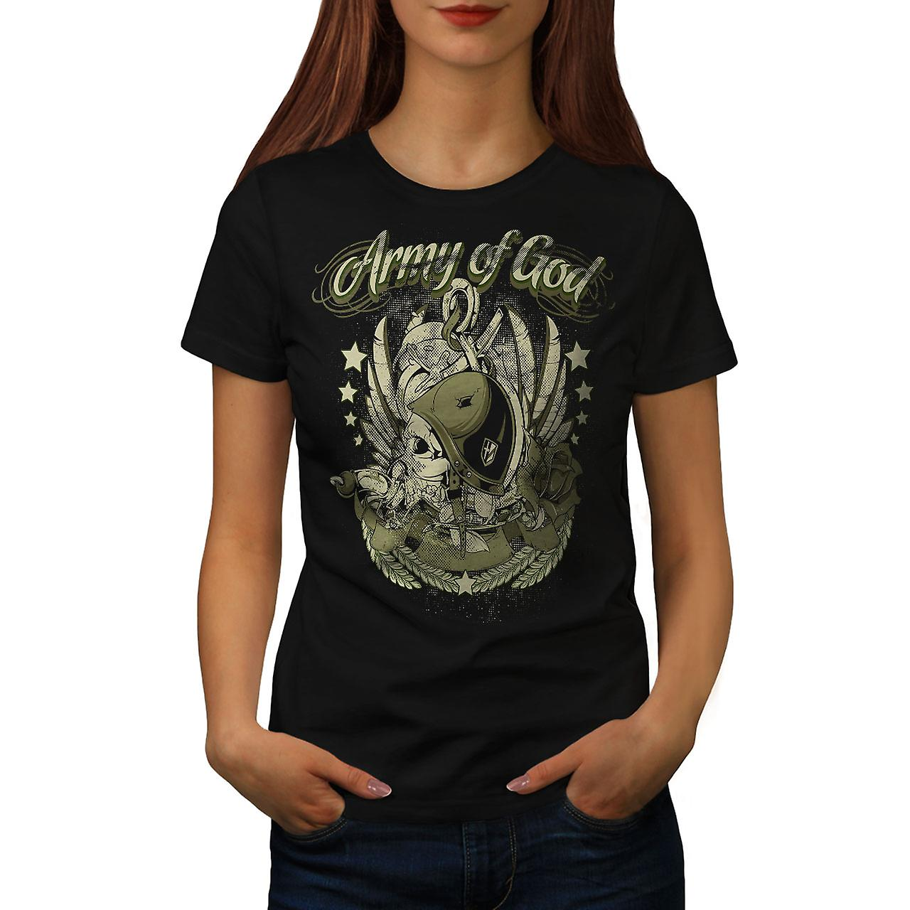 Army Of God Pilot Skull Women Black T-shirt | Wellcoda