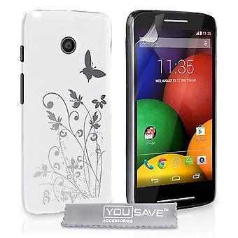Motorola Moto E mariposa Floral estuche - blanco-plata